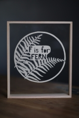 $65 unframed personalised fern papercut