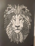 $200 NZD unframed Lion design Dark grey with marble backing A3