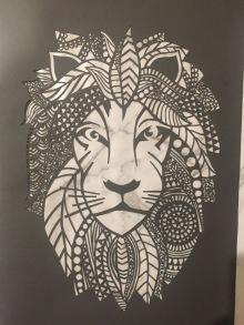 $200 NZD unframed Lion design Dark grey with marble backing A3