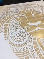 $200 NZD unframed White lion with timber backing A3