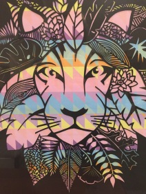 $200 NZD unframed Lion with leaves Black with colourful geometric backing A3