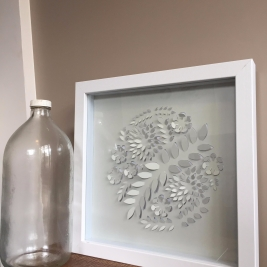 "$50 NZD unframed 12 x 12"" Pop up botanic paper cut circle"