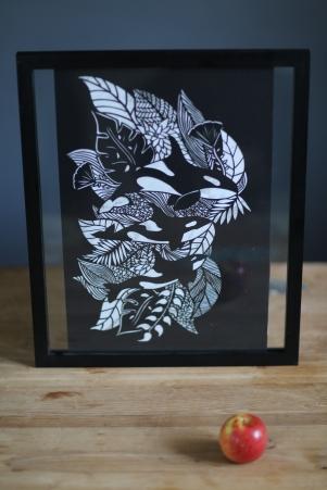 Leafy orca papercut